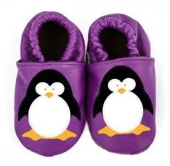 Kožené capáčky Afelo tučňák fialový č.1